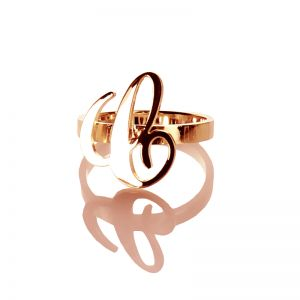 Rose Gold Carrie Initial Letter Ring