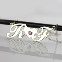 silver couple name necklace