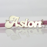 silver cute name necklace
