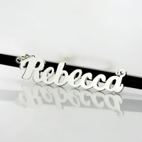 silver puff name necklace