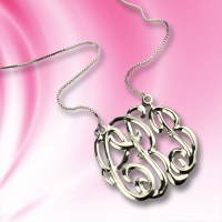 Celebrity Cube Premium Monogram Necklace Gift Sterling Silver