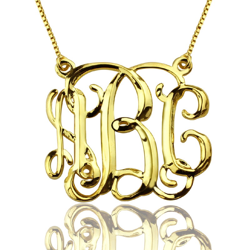 Custom cube monogram initials necklace 18k gold plated aloadofball Image collections