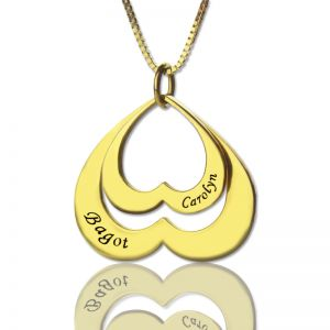 Heart in Heart Name Pendant In Gold
