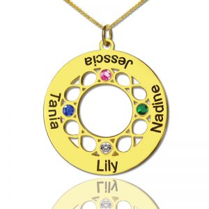 Circle Infinity Birthstone 4 Family Names Necklace In Gold