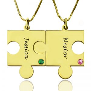 Matching Puzzle Necklace for Couple With Name & Birthstone Gold Plate