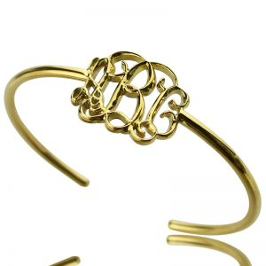Personalized Celebrity Monogram Initial Bangle 18K Gold Plated