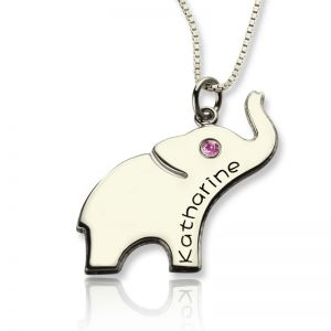 Good Luck Gift: Elephant Necklace Engraved Name