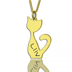 Custom Cat Name Pendant Necklace Gold Over