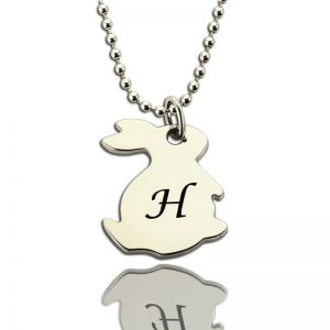 Personalized Rabbit Initial Charm Pendant Sterling Silver