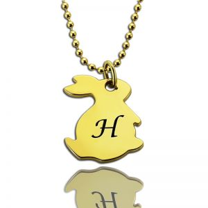 Tiny Rabbit Initial Charm Necklace 18k Gold Plated