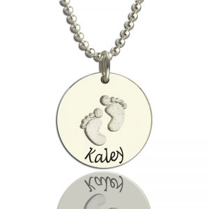 Memory Baby Footprints Name Necklace Sterling Silver