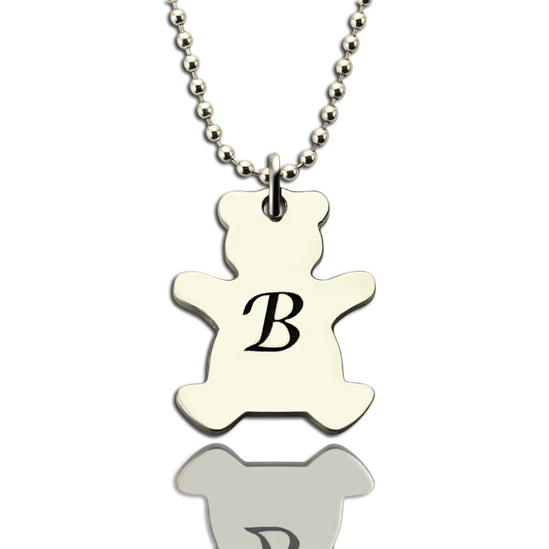 Kids Jewelry Personalized Teddy Bear Initial Necklace