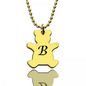Cute Teddy Bear Initial Charm Necklace 18k Gold Plated
