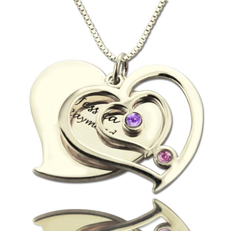 2c9e61698386b0 Personalized Couple's Birthstone Heart Name Necklace
