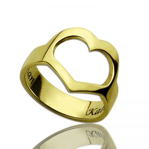 Heart Promise Ring With Couple's Name Gold Plated Silver