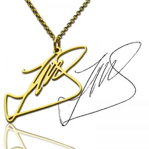 Custom Necklace with Your Own Signature Gold Plated Silver