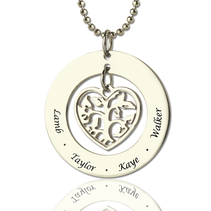 519bd90b1 Heart Charm Circle Family Tree Name Necklace Sterling Silver