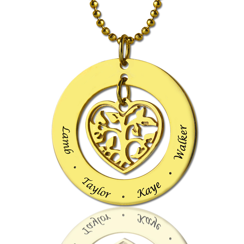 Circle family tree name pendant necklace in gold aloadofball