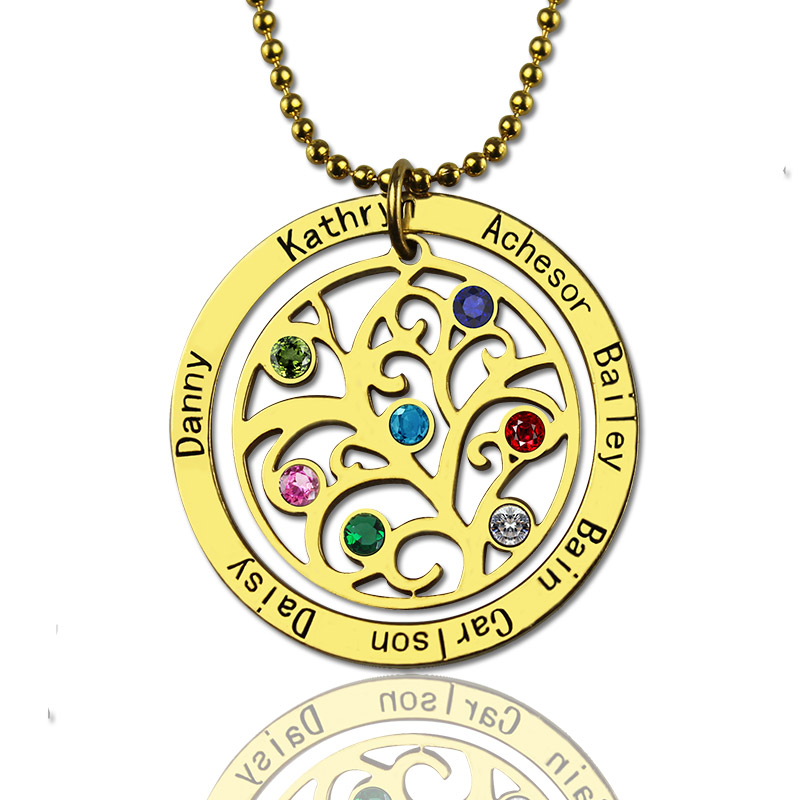 round family tree with 7 birthstones  u0026 names necklace in gold