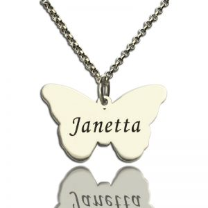 Personalized Charming Butterfly Pendant Name Necklace Silver