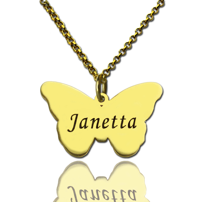 Butterfly pendant engraved name necklace 18k gold plated aloadofball Images