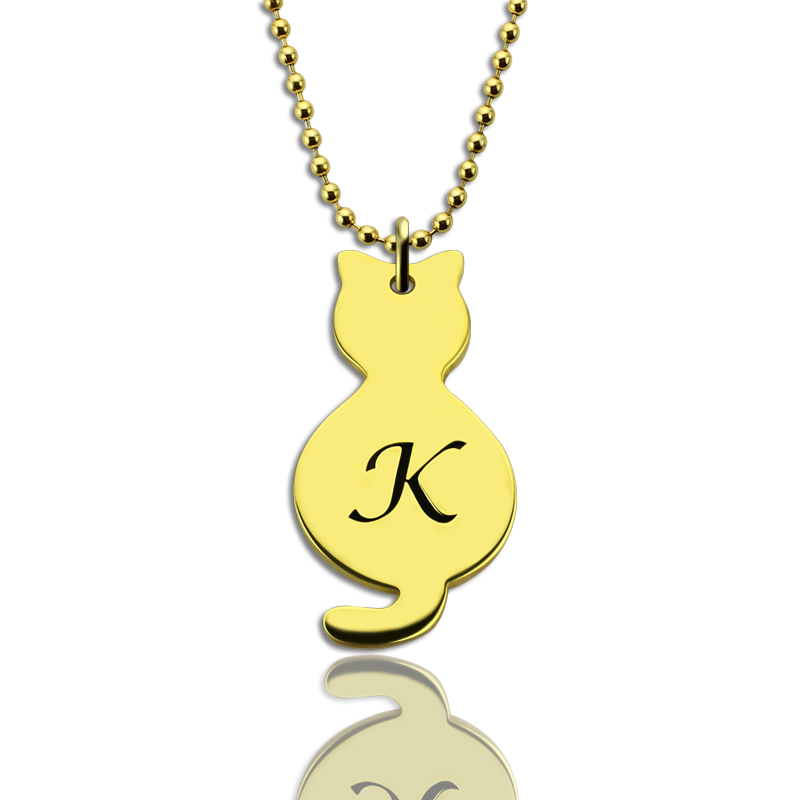 Gold Over Cat Initial Pendant Necklace 8ee36967ddb76