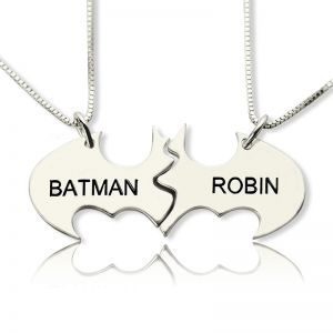 Personalized Best Couples Batman Name Necklace Sterling Silver