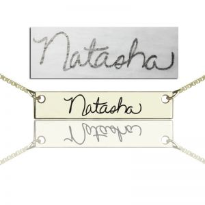 Custom Necklace With Your Signature Bar Silver