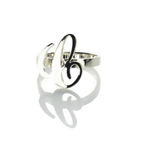 Personalized Carrie Initial Letter Ring Sterling Silver