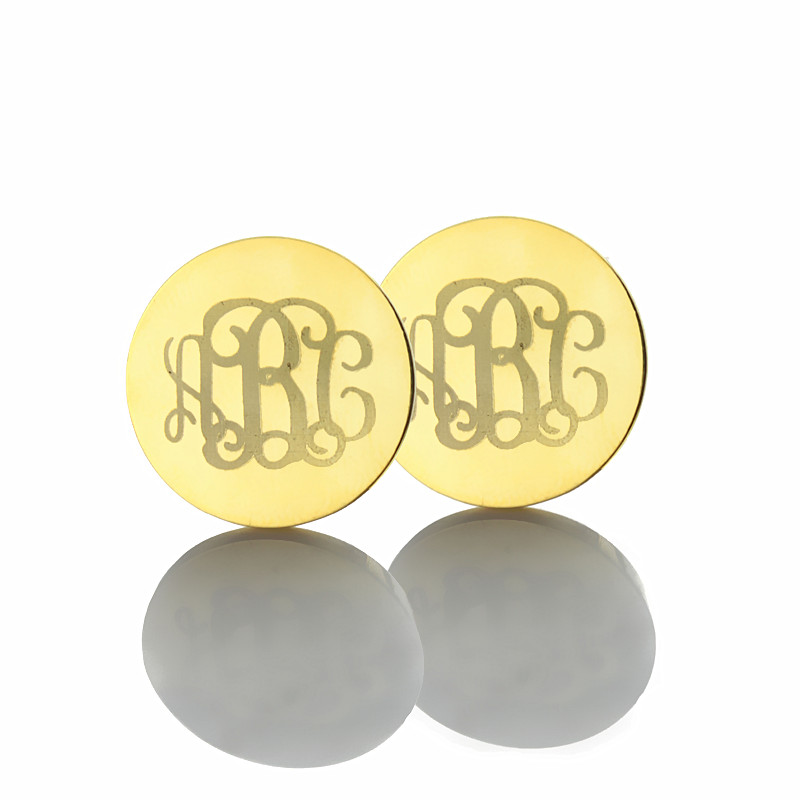 monogram border plated earring mono letter letters capital earrings gold with