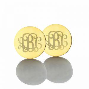 Engraved Monogram Stud Earrings In Gold
