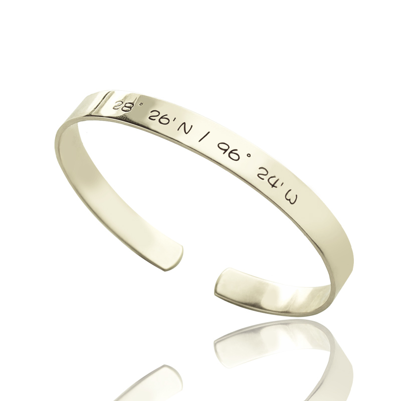coordinate stamped custom personalized in solid latitude item longitude jewelry sterling cuff silver charm engraved men stamp bangles from and bracelet