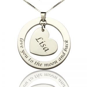 Love You Heart Charm Name Necklace For Women