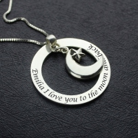 I Love You To The Moon and Back: Moon & Star Charm Pendant