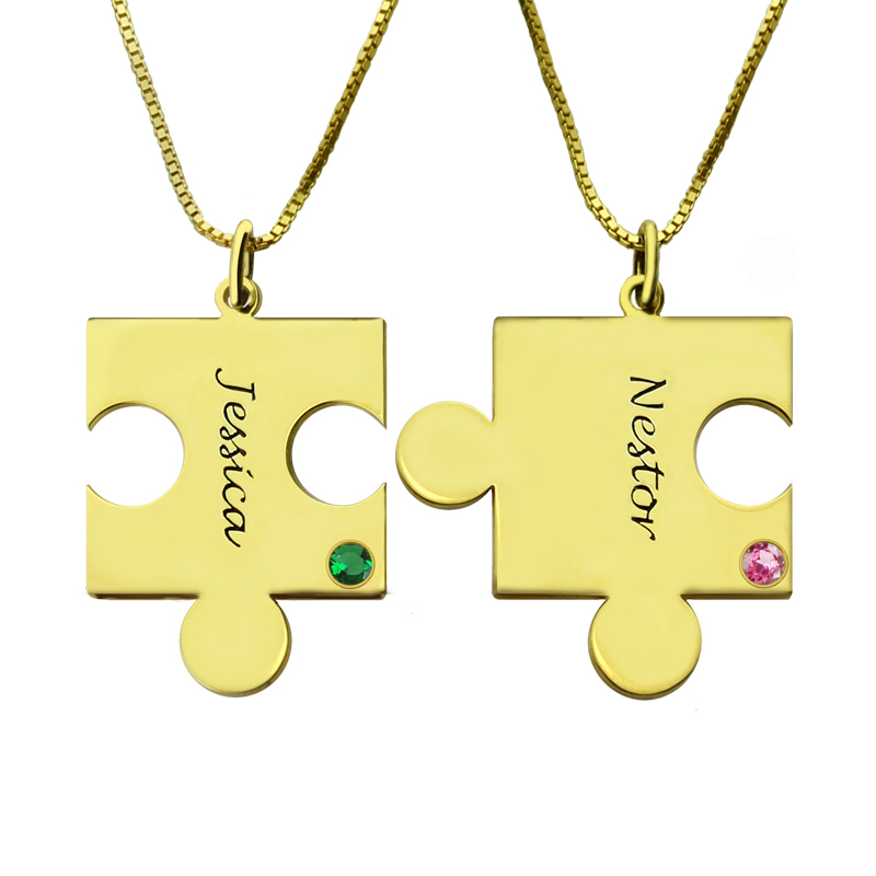 Matching Puzzle Necklace For Couple With Name Amp Birthstone