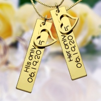 18K Gold Plated Smart Couples Bar Necklace Engraved Name & Date