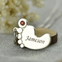 Personalized Mother's Baby Feet Name Necklace with Birthstone