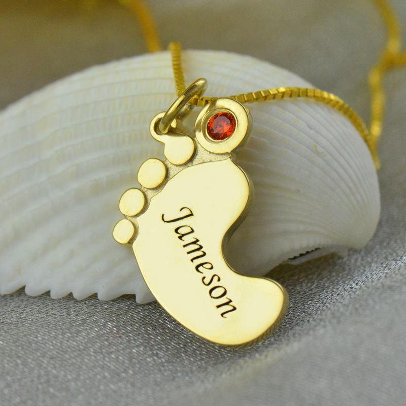 Gold Baby Foot Pendant Necklace with Birthstone Name