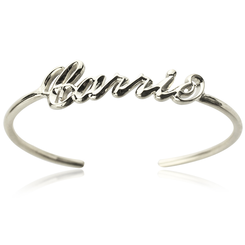 710e8e4f6 Personalized Carrie Style 3D Name Bangle Sterling Silver