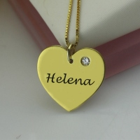 Simple Heart Necklace With Name & Birthstone 18k Gold Plated