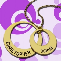 Engraved Kids' Names Ring Gold Necklace for Mother