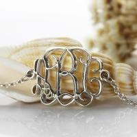 Celebrity 3D Monogram Initial Bracelet Sterling Silver