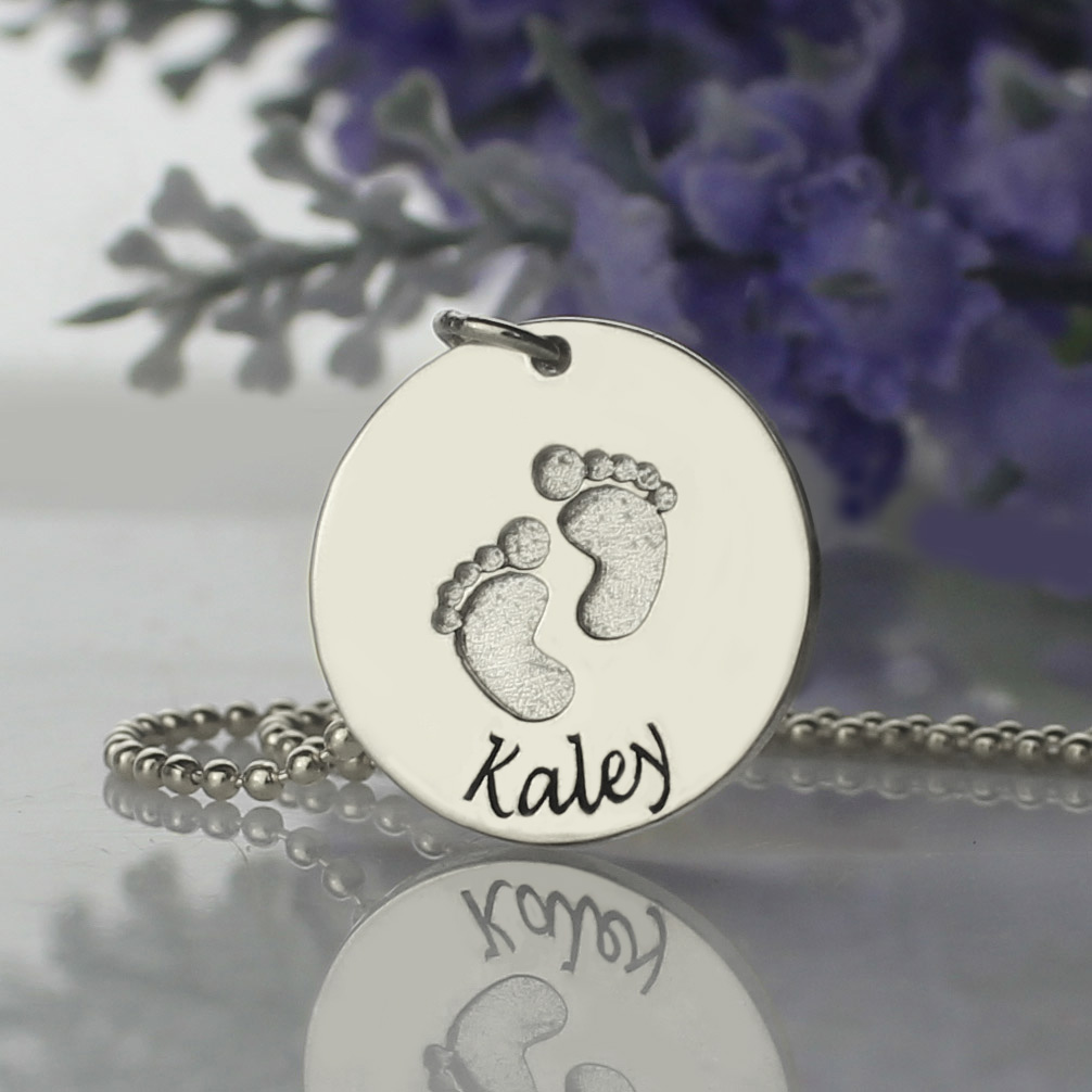 Memory baby footprints name necklace sterling silver aloadofball Choice Image