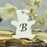 Personalized Teddy Bear Initial Necklace Sterling Silver