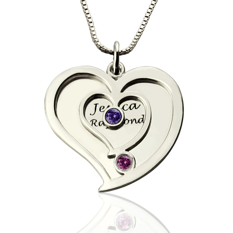 Personalized Couple S Birthstone Heart Name Necklace