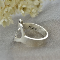 Personalized Couple's Name Promise Heart Ring Silver