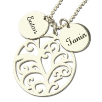 Family Tree Necklace with Custom Name Charm Silver