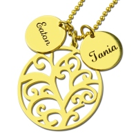 Family Tree Necklace With Disc Name Charm For Mom