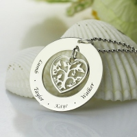 Heart Charm Circle Family Tree Name Necklace Sterling Silver