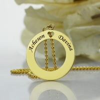 Personalized Circle of Love Name Necklace Gold Plated 925 Silver